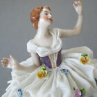 Antique DRESDEN Porcelain Figurine BALLERINA Delicate LACE + Flowers * VOLKSTEDT