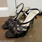 Bandolino Dark Brown Snakeskin Print Strappy Slingbacks Heels Shoes Sz 7 M