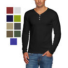 Alta Mens Slim Fit V Neck Long Sleeve Cotton T Shirt with 3 Button Up Opening