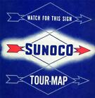 SUNOCO SERVICE STATION CENTRAL UNITED STATES HIGHWAY ROAD MAP 1950s VINTAGE