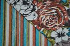 Cynthia Rowley Full Queen Quilt set Floral Striped Multi-color Cotton blend New
