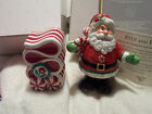 FITZ & FLOYD PEPPERMINT SANTA SHAKERS NEW IN BOX 2008 SANTA & RIBBON CANDY NIB