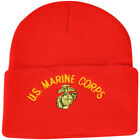 United State US Marine Corps Military Knit Beanie Cuffed Support Soldiers Red