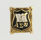 Alpha Sigma Phi Vintage Badge Pin 14k Solid Yellow Gold Fraternity Crest