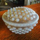 Vintage Anchor Hocking-MOONSTONE-Opalescent Hobnail Lidded Powder Trinket Box