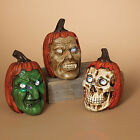 2213800 79 B O Lighted Halloween Scary Pumpkin Faces Heads Table Decoration