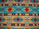 Fleece Fabric Native American Motif in Orange Turquoise  Brown sold by the yard