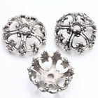 15Pcs Tibet Silver Plated Hollow Heart Flower Spacer Bead Caps Jewelry Findings