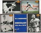 Lot Of 10 1993 Ted Williams Co. Memories '63 Dodgers Sets - Don Drysdale + More