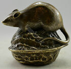 Collectible Decorated Old Handwork Copper Carved Mouse On Walnut Statue