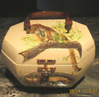 VINTAGE OCTAGON 3 DIMENSIONAL LACQUER FINISH ANIMAL PRINT SIGNED PURSE AMAZING