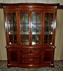 THOMASVILLE CHERRY CHINA CABINET Lighted Hutch Mirror Back Glass Shelves VINTAGE