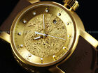 Invicta Men S1 Yakuza Dragon 24J Automatic 18K Matte Gold IP Brown Strap Watch