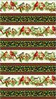 HOME FOR THE HOLIDAYS CARDINALS  HOLLY STRIPES CHRISTMAS FABRIC NORTHCOTT