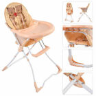 Baby High Chair Infant Toddler Feeding Booster Seat Folding Safety Portable Tan