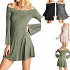 Solid Off Shoulder Bell Long Sleeve Flare Mini Dress Casual Cute Rayon S M L