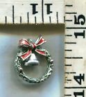 VINTAGE STERLING BRACELET CHARM~#77061~ENAMELED CHRIATMAS WREATH W/MOVING BELL