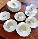Porsgrund Norway Mountain Flower Series  8 dessert plates  6 cups and  8 saucers