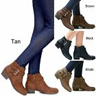 New Women TCH Black Tan Western Ankle Booties Riding Low Heel Boots 55 to 10