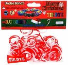 Undee Bandz Rubbzy 100 CHRISTMAS RED  WHITE Tie Dye Rubber Bands with Clips