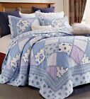 GARDEN of BLUES Full Queen QUILT SET  COUNTRY COTTAGE RUFFLED RAG PURPLE FLORAL