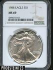 1988 S 1 Silver American Eagle NGC MS69