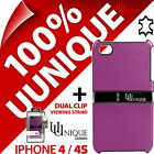 Neu Uunique Echtes Leder Hülle Cover für Apple iPhone 4S + USB Lade Kabel