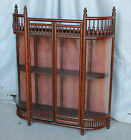 Antique Mahogany Wall Mount Stick and Ball Curio Display Cabinet