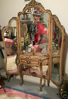 Tri Fold Free Standing Vanity Dressing Mirror with Caned Arm Chair
