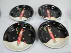 CERTIFIED INTERNATIONAL MIDNIGHT SANTA PASTA SOUP  BOWLS SET OF 4