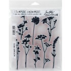 Stampers Anonymous CMS253 Wildflowers Tim Holtz Cling Stamps 7 by 85 Clear