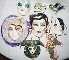 Lot of  8 Wall Mask Decorative Hangings - Jesters - Mardi Gras - Clay Art