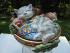 FITZ and FLOYD Kristmas Kitty Silver Gray Tabby Covered Bowl