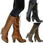 New Women FCa36 Black Tan Brown Combat Lace Up Riding Mid Calf High Heel Boots