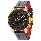 DETOMASO Firenze Mens Watch Chronograph Stainless Steel Gold Plated Black New
