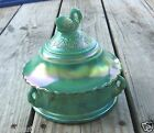 Westmoreland Green Carnival Glass Swan Lidded Candy Box Dish