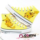 Handmade Pokemon Go Pikachu Ankle High Tops Casual Canvas Shoes Unisex Sneakers