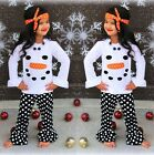 Boutique Kids Girls Snowman Olaf Ruffle Dot Headband Outfits Clothes US Stock