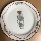 4 Corelle Callaway Holiday Ivy Luncheon Plate 9 inch Christmas Red Ribbons Swirl