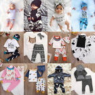 3pcs Toddler Newborn Baby Kids Boys Girls T shirt Tops+Pants Outfits Clothes Set