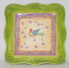 Sango Tuscan Gardens Square Salad Plate Dish EUC China Sue Zipkin Flower Bird