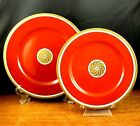 Fitz Floyd Medallion d'Or Orange 1 Salad Plate 1 Bread Plate Gold Band Vtg 1976