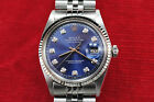 MENS ROLEX DATEJUST,STAINLESS/WHITE GOLD, BLUE DIAMOND DIAL, SERVICED, BOX