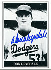 Don Drysdale Autographed Black and White Baseball Cards