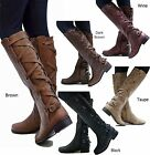 New Women Gc1 Cognac Brown Black Buckle Riding Knee High Cowboy Boots 55 to 11