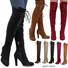 New Women FD14 Stretchy Lace Up Over the Knee Thigh High Combat Heel Boot 55 10