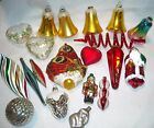 19 MISC VINTAGE  GLASS CHRISTMAS ORNAMENTS GRAPES BUTTERFLY ELEPHANT BELLS +