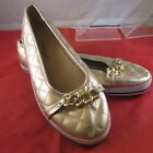 GUC LADIES CLOUDWALKERS KATE GOLD QUILTED CHAIN DETAIL SLIP ON FLATS SHOES 12 W