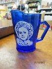 Vintage Cobalt Blue Depression Glass Small Pitcher with Shirley Temple on it