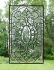 Stunning Handcrafted stained glass Clear Beveled window panel 20 x 34